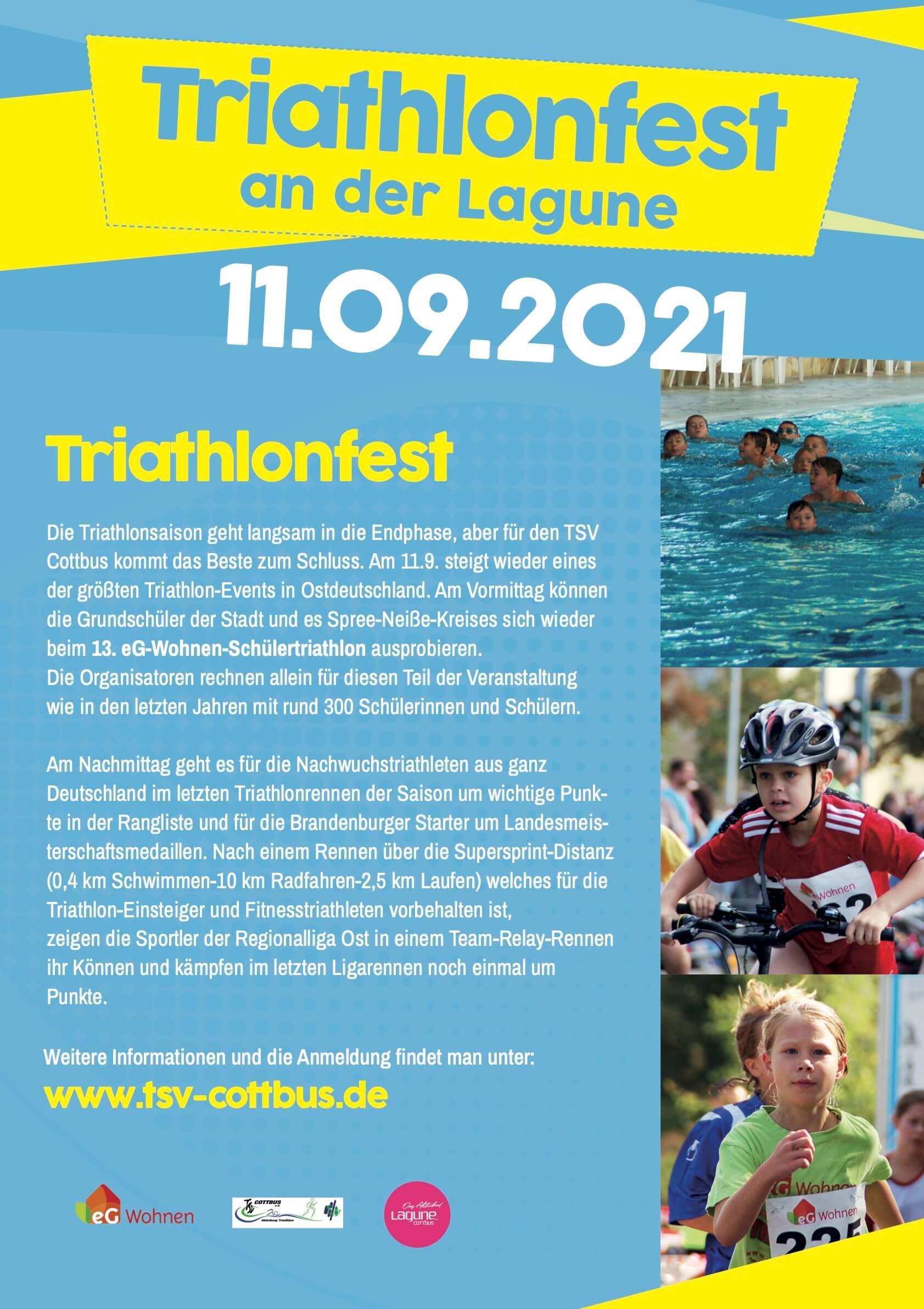 Triathlonfest 2021 in der Lagune Cottbus
